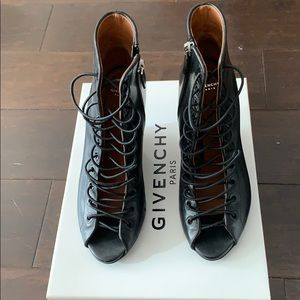 Givenchy Black lace bond wedge heels